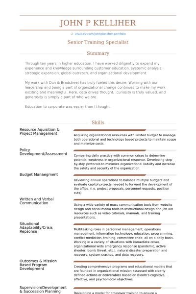 Training Specialist Resume samples - VisualCV resume samples database