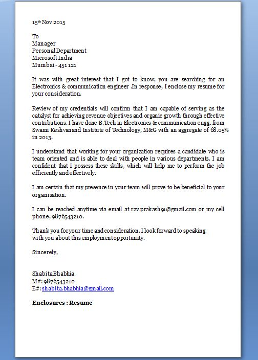 Best Ideas of Email Cover Letter For Freshers Engineers On Cover ...