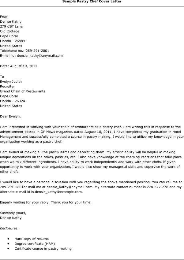 Chef Cover Letter Example   Sample For All