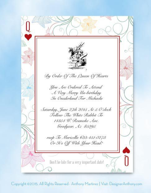 Free Template Free Alice in Wonderland printable invitation ...