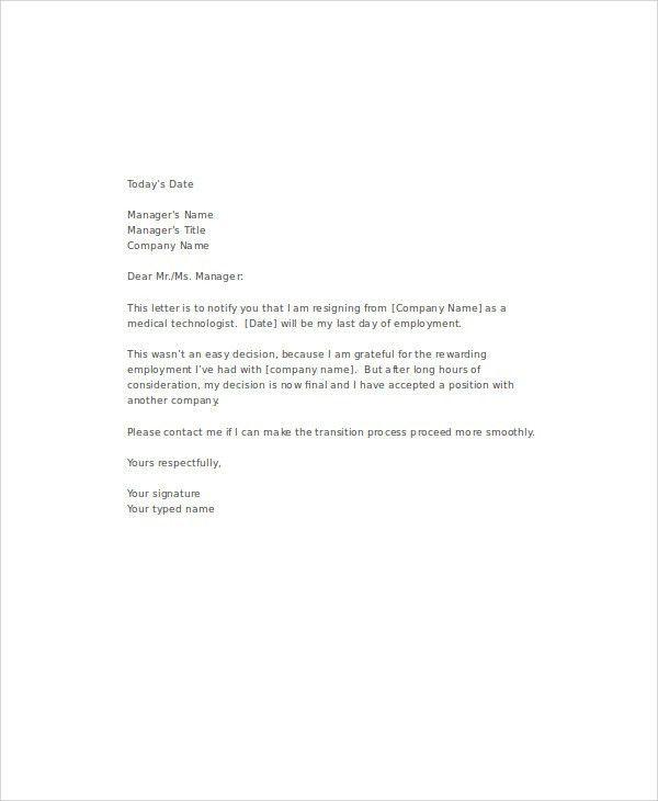 Resignation Letter For Medical. Medical Resignation Letters ...