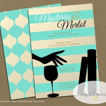 Printable Custom Colorful Invitation E-Card Design For Book Club ...