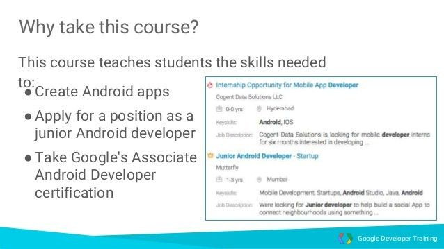Android developer fundamentals training overview part I