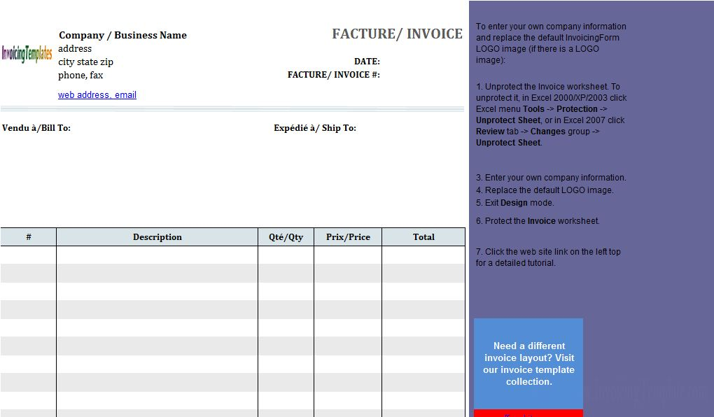 Basic Sales Invoice Template in French