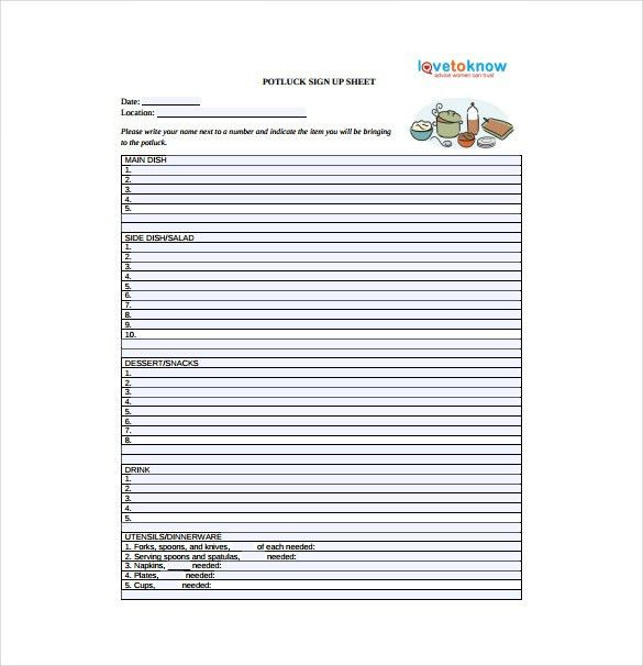 10+ Sign Up Sheet Templates – Free Sample, Example, Format ...