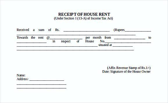 House Rent Invoice And Receipt Format Sample : Vatansun