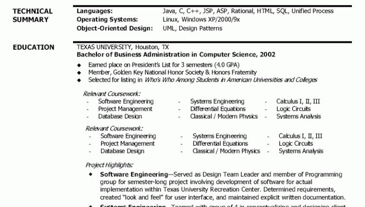 software engineer resume sample profile & technical summary ...