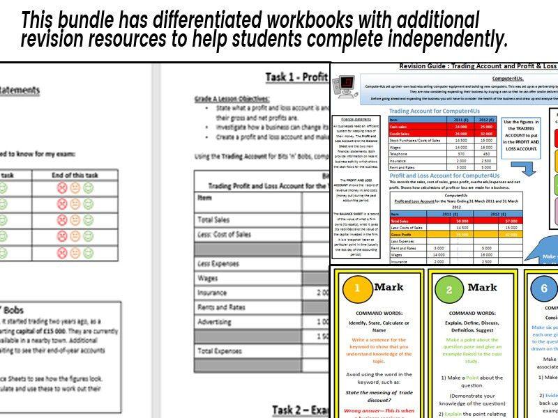 Profit & Loss Account Worksheet GCSE Business Studies (EdExcel ...