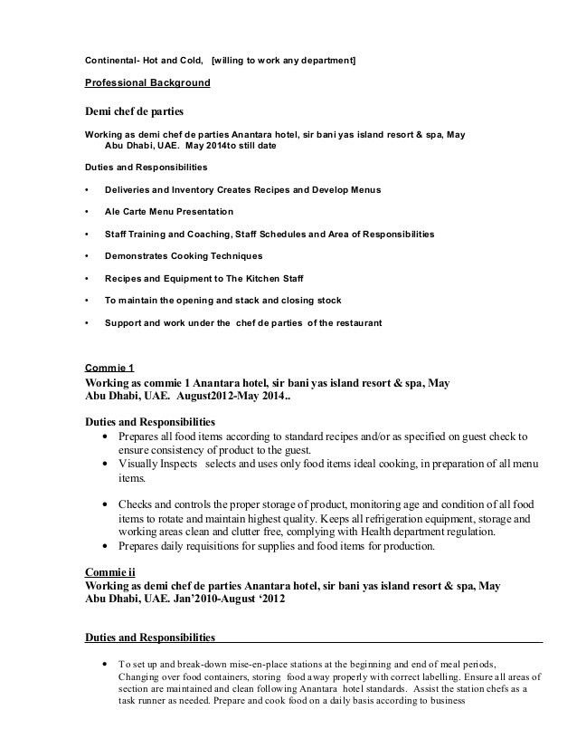 resume sample for a line cook. 4 commis chef responsibilities ...