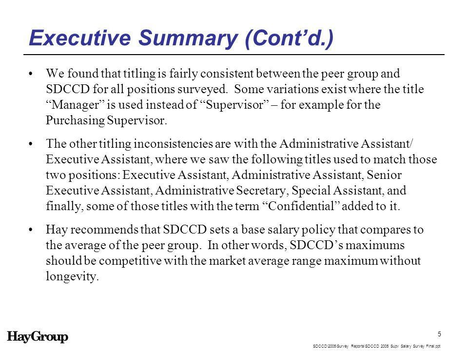 2005 Supervisory and Professional Salary Survey Final Report ...