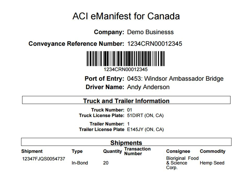BorderConnect | ACI eManifest Requirements for Canada (CBSA)