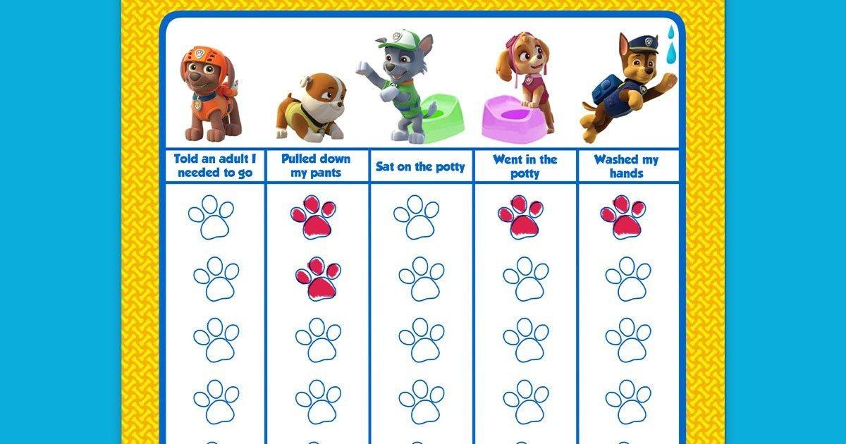 PAW Patrol Potty Training Chart | Nickelodeon Parents