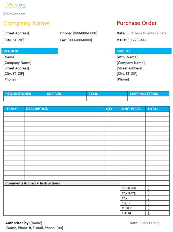 Purchase Order Template | Save Word Templates