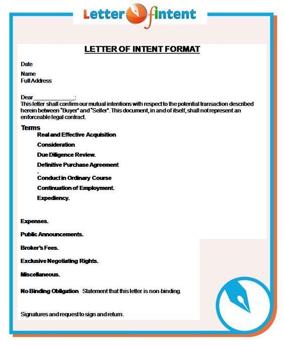 letter of intent format http://www.letter-of-intent.org/what ...