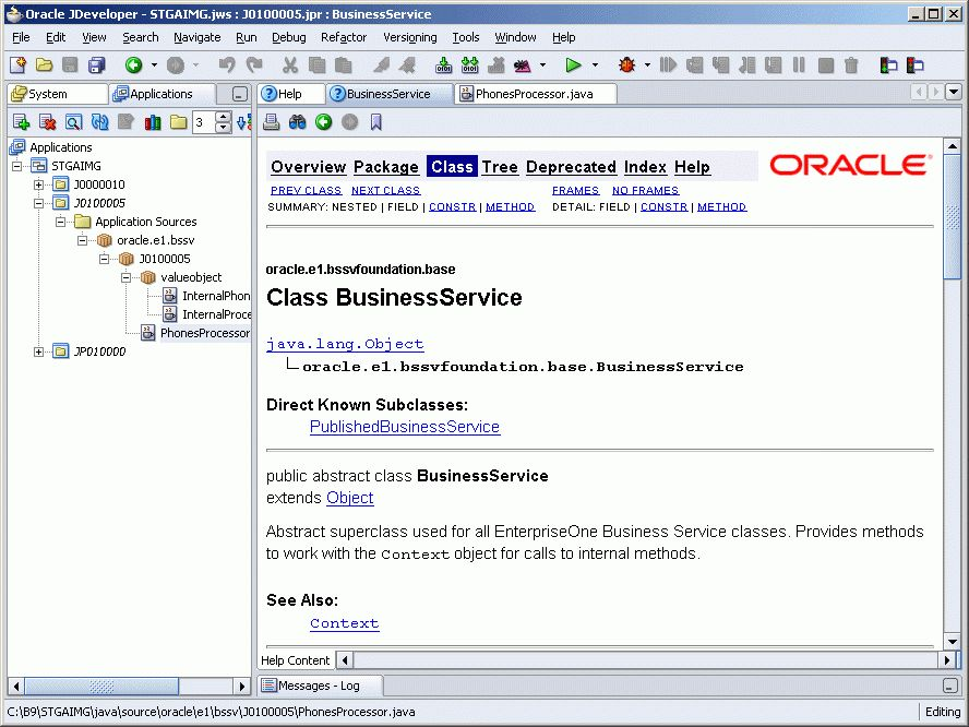 C Business Services Framework Javadoc