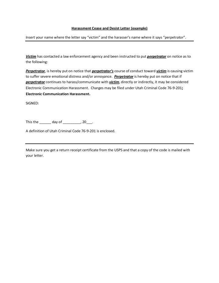 Cease And Desist Letter Harassment Ontario   Docoments Ojazlink