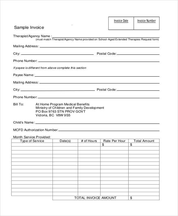 Sample Invoice. Rental Sample Invoice 20+ Blank Invoice Examples ...