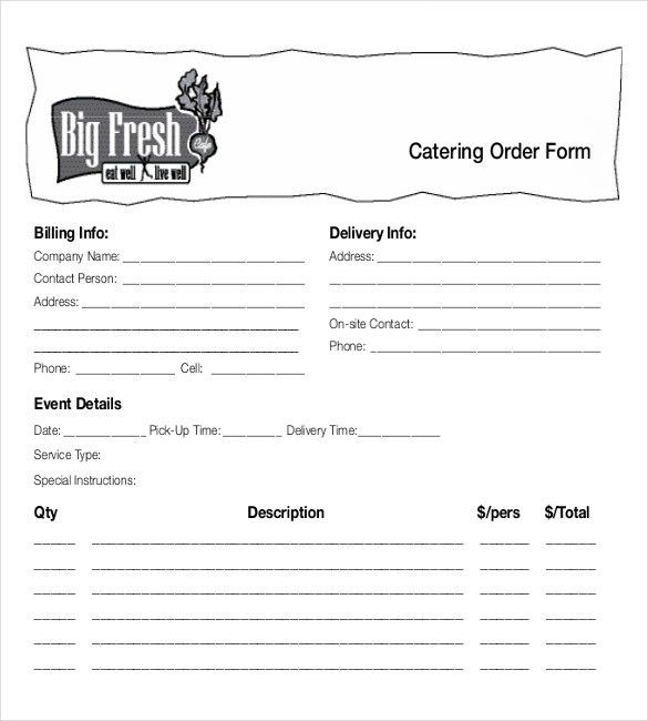 15+ Food Order Templates – Free Sample, Example, Format Download ...
