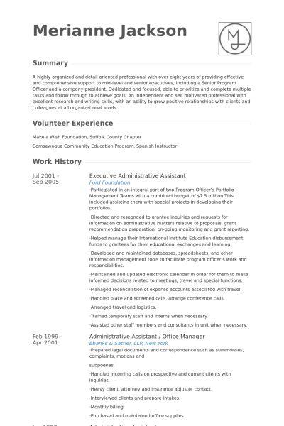 Executive Administrative Assistant Resume samples - VisualCV ...