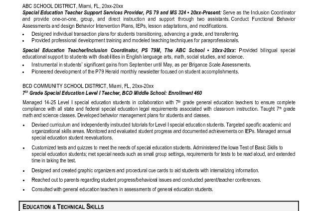 special education resume objective special education teacher aide