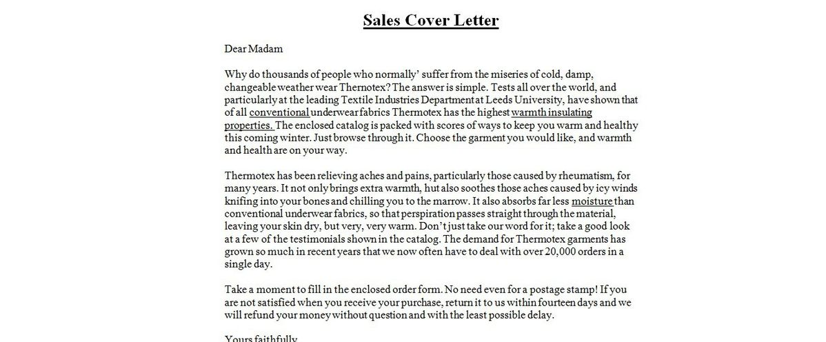 Sales Cover Letter Example Sales Cover Letter Examples Sales for ...