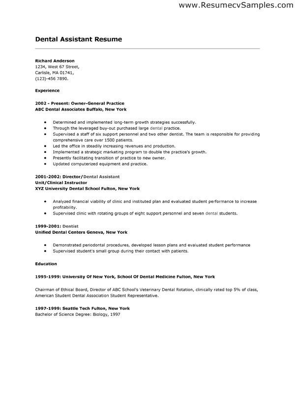 Free Dental Assistant Resume Template With Experience Dental ...