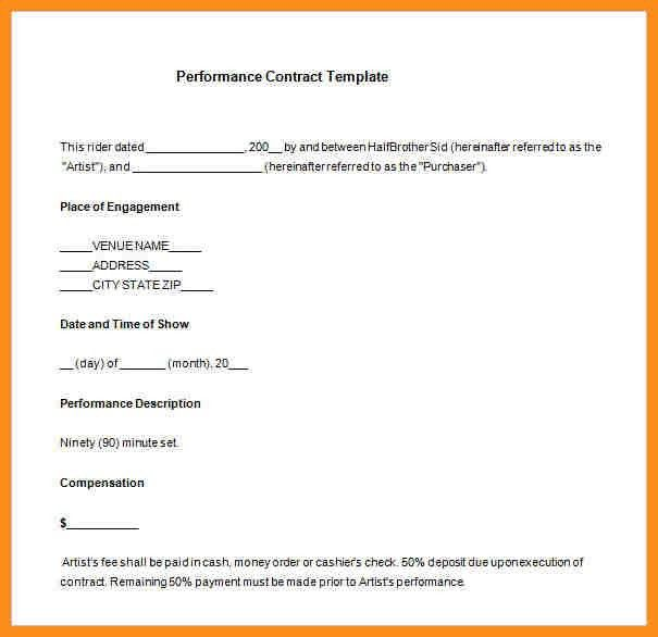 Performance Contract Templates. Printable Pdf Version: Performance ...