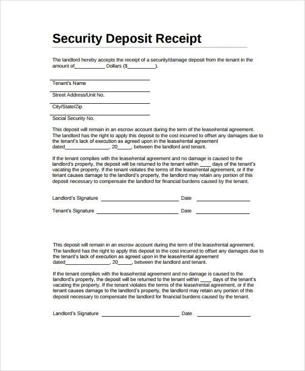 Letter Format For Security Deposit Refund | Mytemplate.co