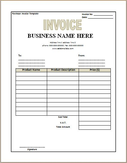 purchase invoice template - Template
