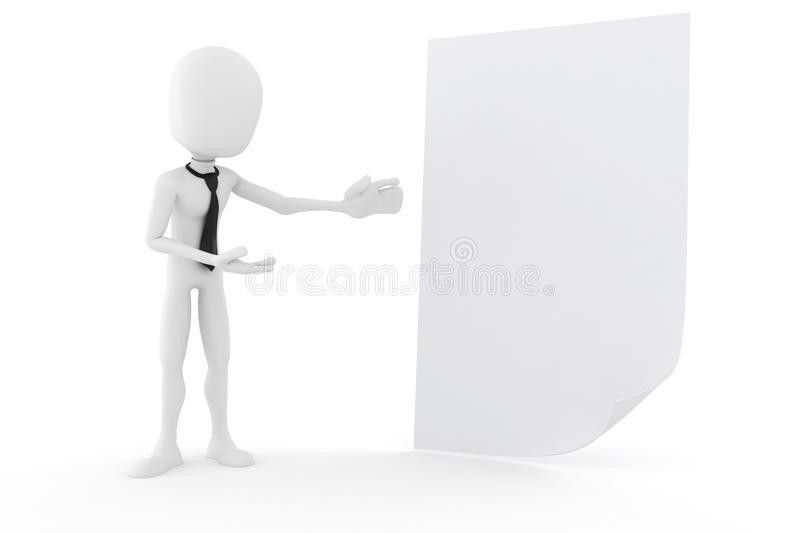 3d Man Presenting A Blank Document Royalty Free Stock Photo ...