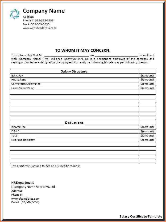 6+ salary certificate format uae | Sales Slip Template