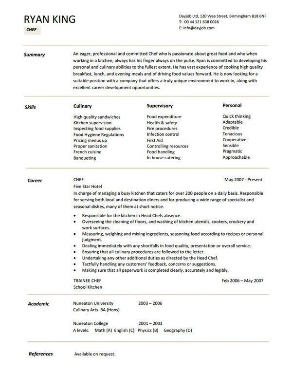 restaurant resume sample html. executive chef resume. chef resume ...