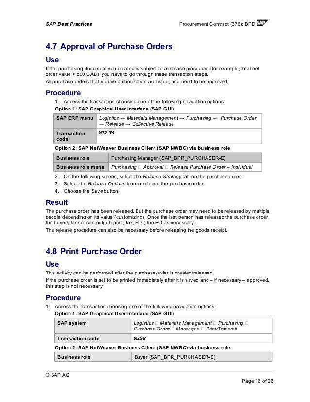 Procurement contract Scenario SAP MM
