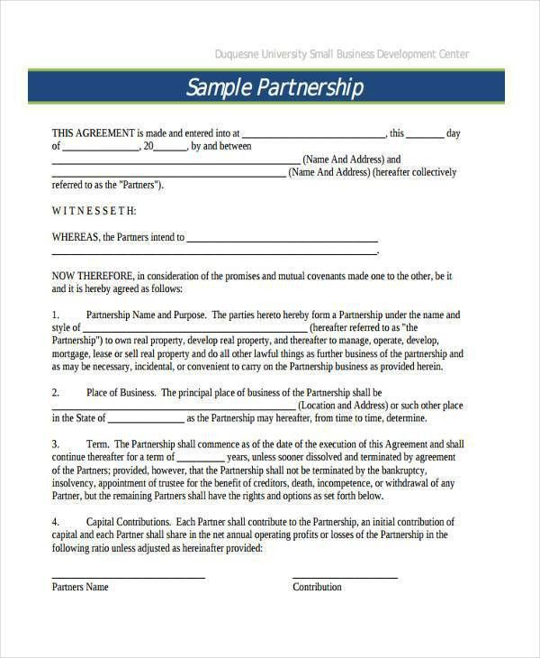 Partnership Contract Templates. 12 Best Images Of Free Sample ...