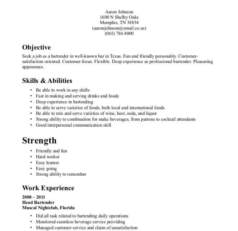 Tremendous Bartending Resumes 9 Cruise Ship Waiter Sample Resume ...