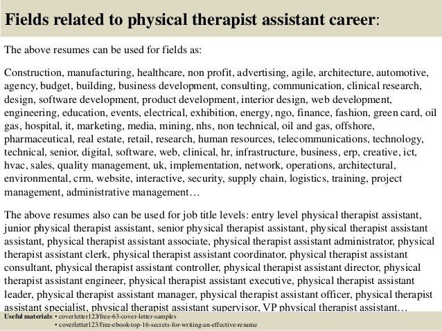 Top 5 physical therapist assistant cover letter samples