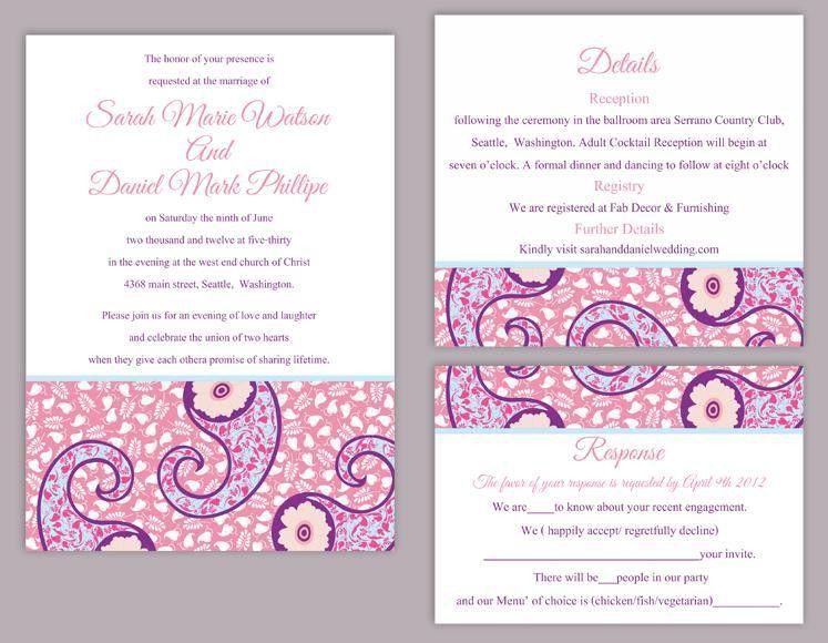 DIY Bollywood Wedding Invitation Template Set Editable Text Word ...