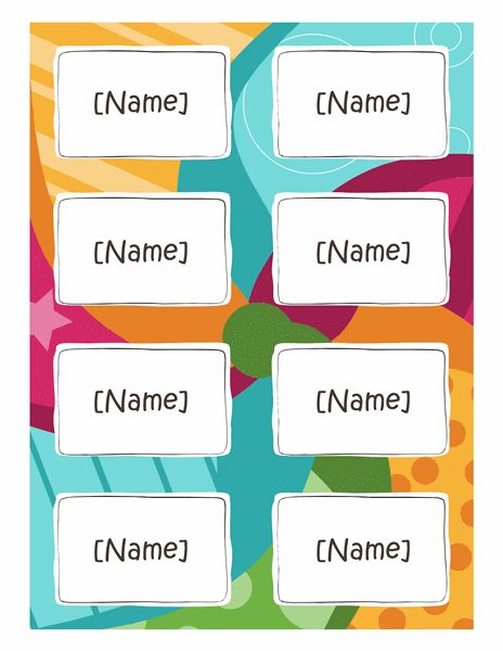 Name badges (Bright design, 8 per page, works with Avery 5395 and ...