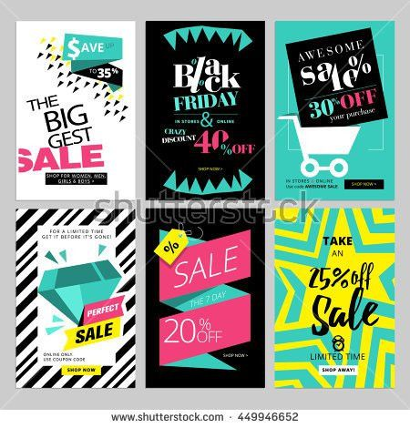 Social Media Banners Online Shopping Vector Stock Vector 446690692 ...