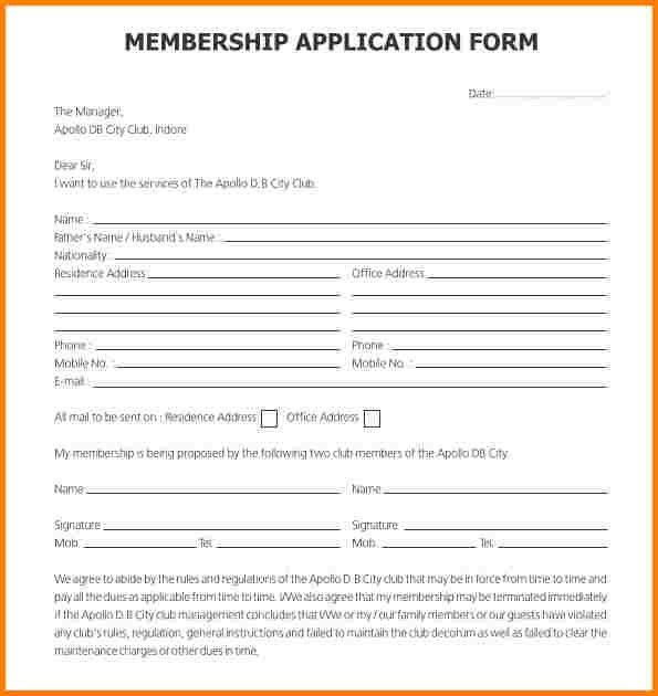 8+ example of application form | quote templates