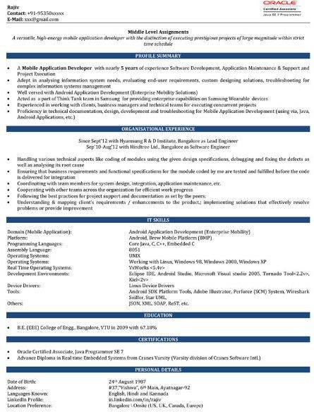 Java Developer Resume Template. Entry Level Software Engineer ...
