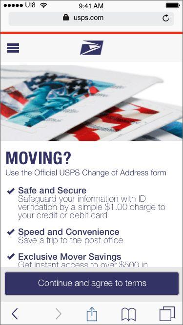 USPS Mover's Guide Online: Internet Change of Address Display ...