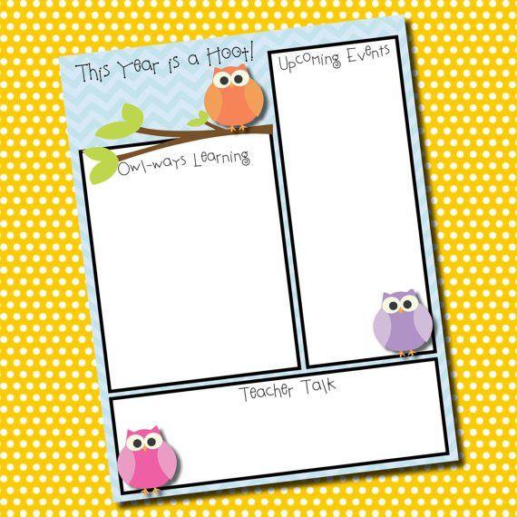 owl clip art templates | Themed Classroom Newsletter Template ...