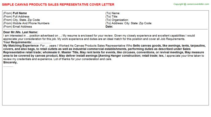 Canvas Products Sales Representative Cover Letter