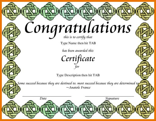 Congratulations Certificate Template.congratscelticgreen.png ...