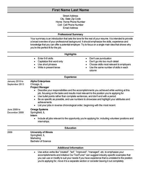 Monster Resume Builder - Resume Example
