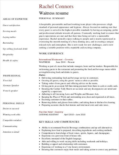 Waitress Resume Template - 6+ Free Word, PDF Document Downloads ...