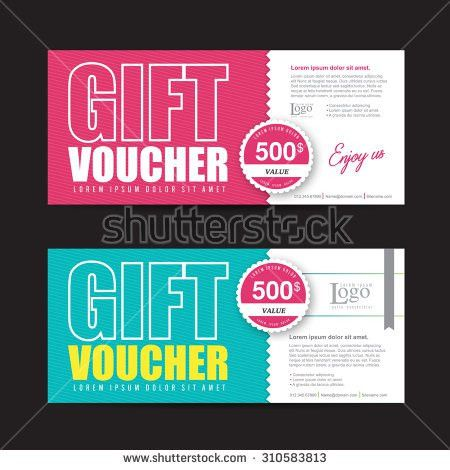 Gift Voucher Template Colorful Patterncute Gift Stock Vector ...