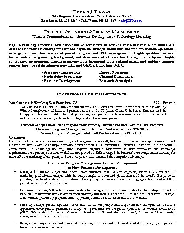 Executive Resume Examples 6 Senior Sales Executive Resume ...