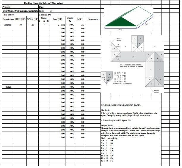 Roofing Estimate Sheet | How to estimate roofing cost